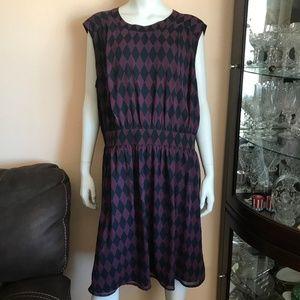 NWOT Modcloth Black and Magenta Print Dress 2X